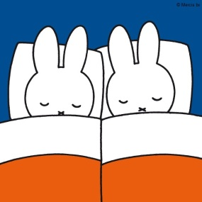 miffy and friend sleeping in bed