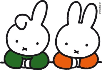 miffy and flopear at table in classroom