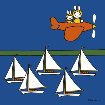 Miffy and uncle flying over boats